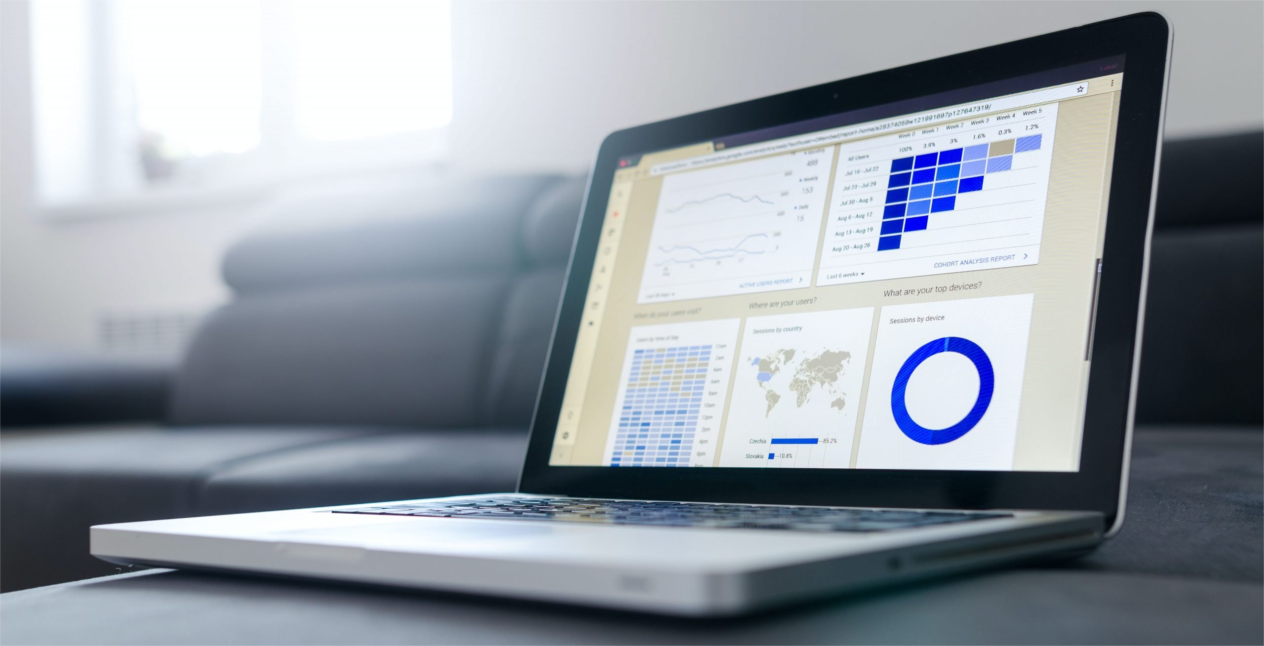 A photo of a laptop with various graphs displayed