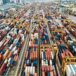 A photo of shipping containers