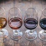 A flight of wine glasses