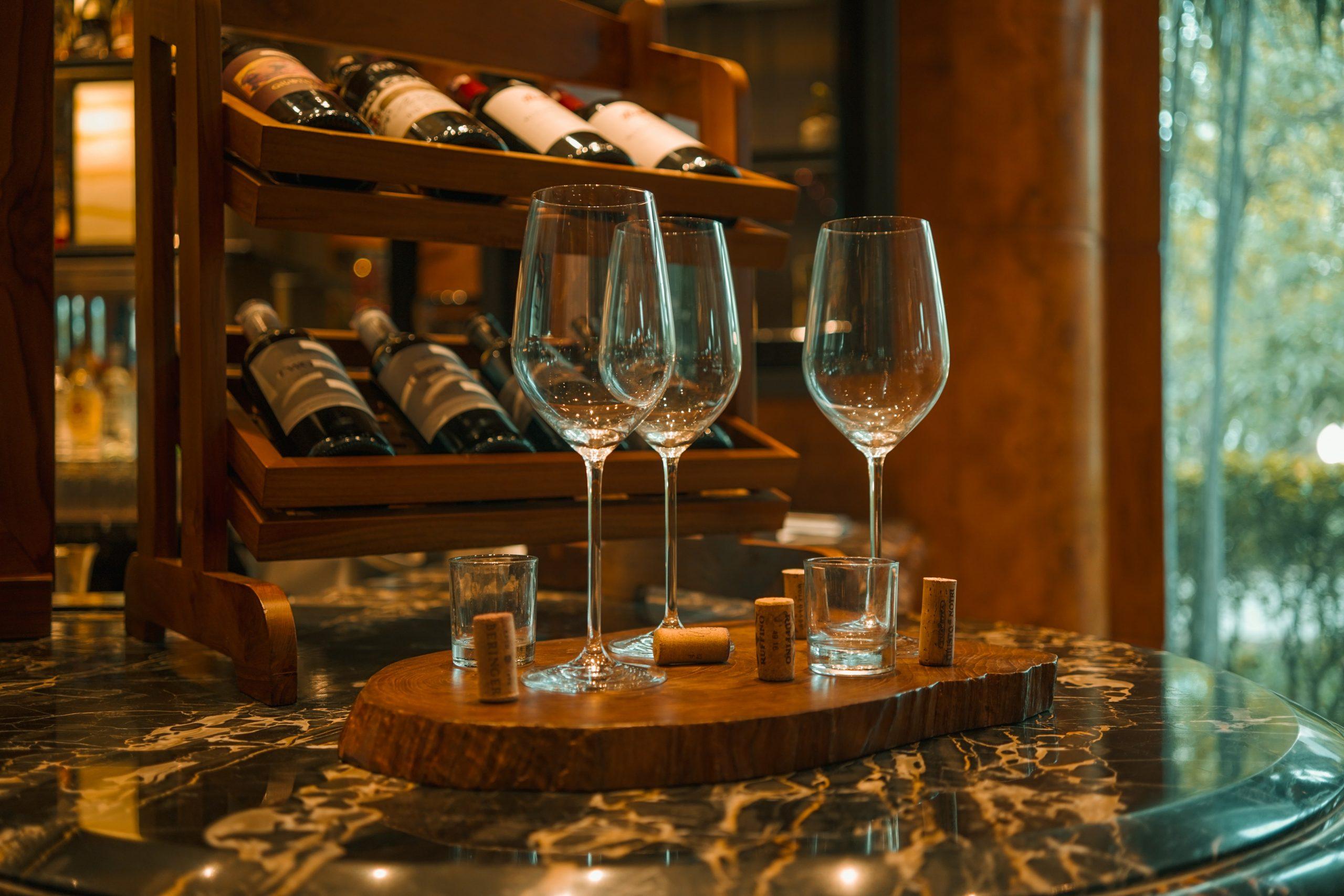 A photo of three wine glasses