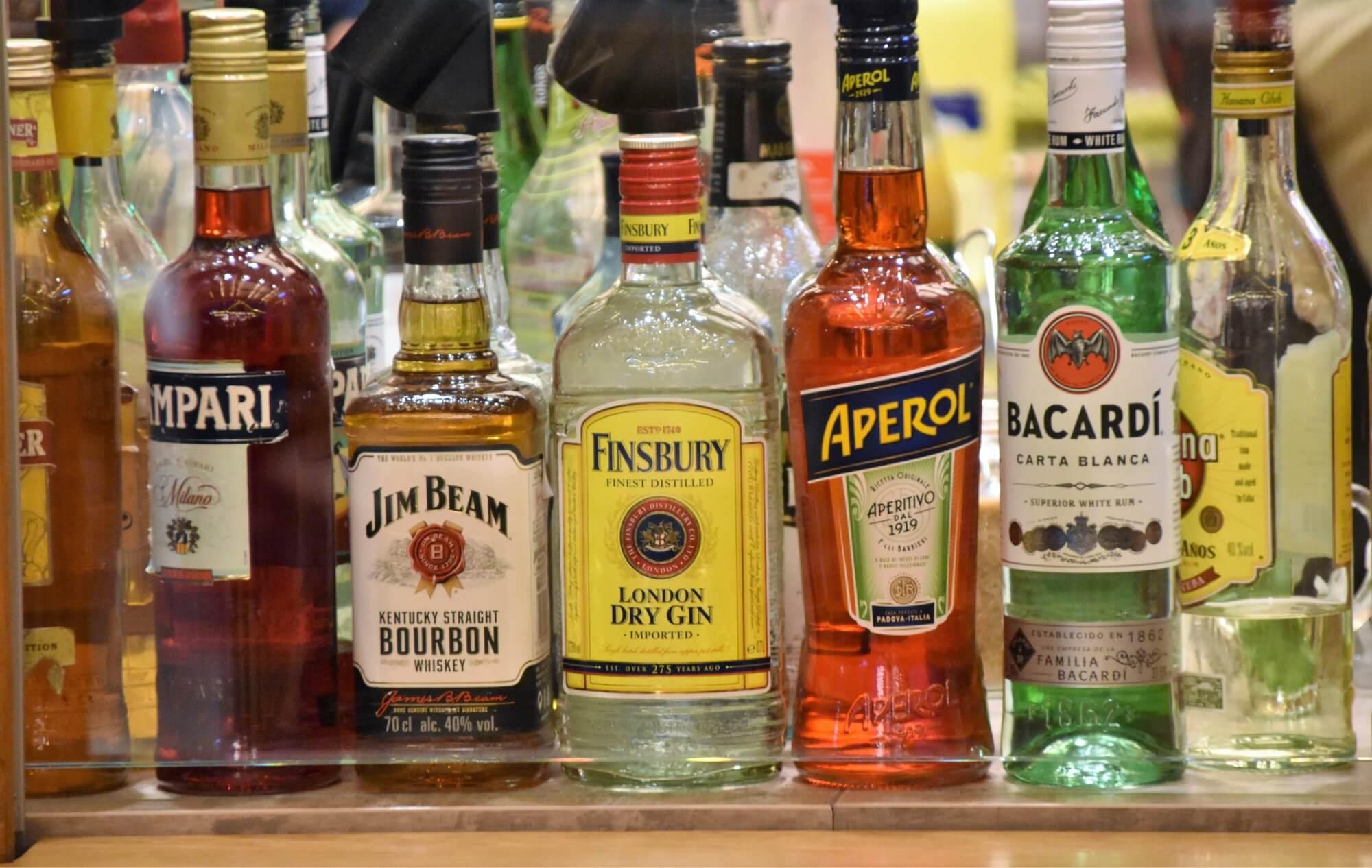 A photo of liquor bottles