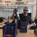 A photo of Nick Nistico packing Cafe La Trova CompanyToast kits